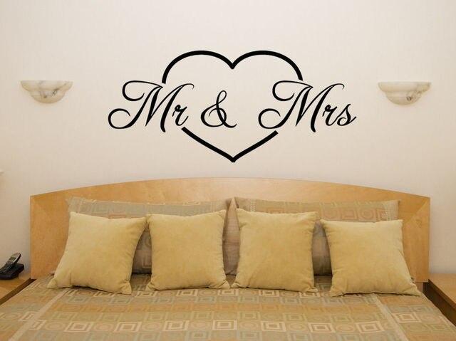 Slaapkamer Muur Quotes : Q047 mr & mrs in liefde hart motto quote slaapkamer kamer decal muur
