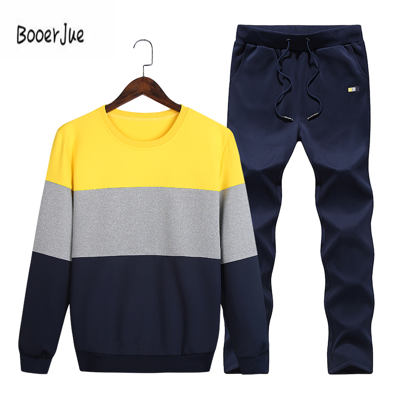 Casual Men Tracksuit Sets O-Neck Sportwear Men Sweatshirt Full Long Sleeves Pants Letter Fashion Men Sets Moletom Masculino New ...