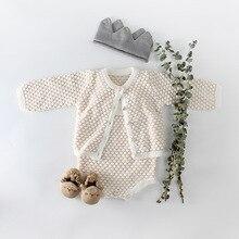 Одежда для маленьких девочек осенний детский вязаный комбинезон, комплект для новорожденных девочек, кардиган для мальчиков, свитер детский комбинезон хлопок