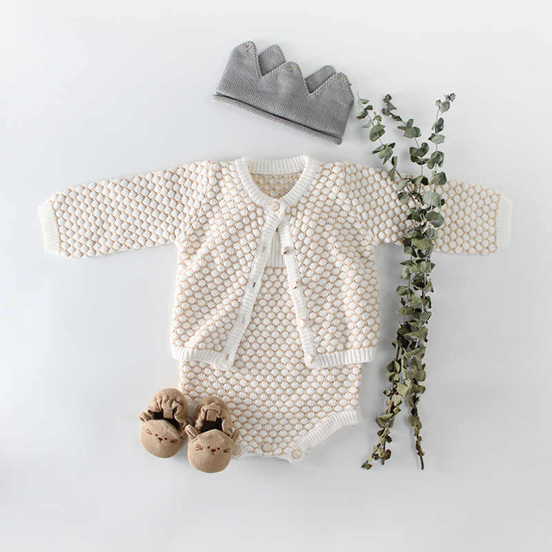 2bfa9e9ca 2018 Baby Girls Clothes Autumn Baby knitted Romper Set Infant Newborn Baby  Girl Cardigan Boys Sweater