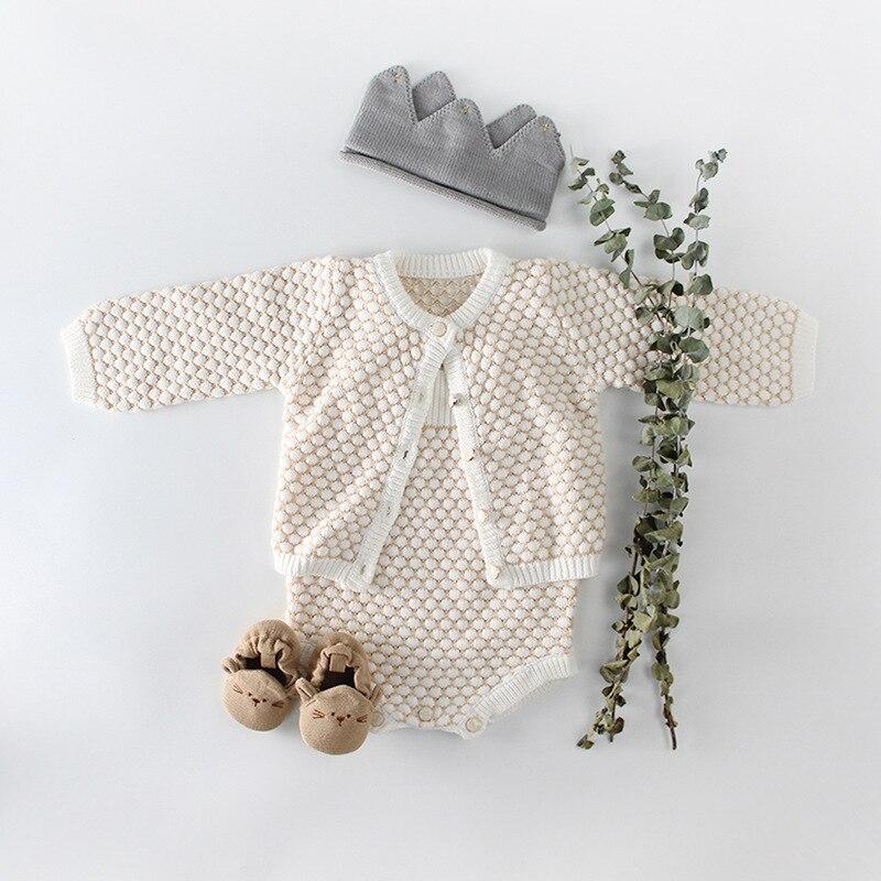 2018 Baby Mädchen Kleidung Herbst Baby Gestrickte Strampler Set Infant Neugeborenen Baby Mädchen Strickjacke Jungen Pullover Baumwolle Baby Overall