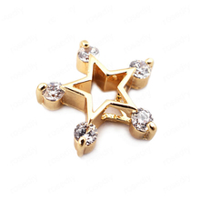 (33691)6PCS 13*13MM 24K Gold Color Brass with Zircon Star Charms Pendants High Quality Diy Jewelry Findings Accessories