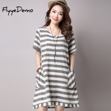 2016 Summer New National Wind Dress Casual Female Linen Cotton Stripe Dress Plus Size Clothing Loose Short Sleeve Pocket Dress купить недорого в Москве