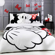 Mickey Minnie Mouse 3D Printed Bedding Sets Adult Twin Full Queen King Size White Black Bedroom Decoration Duvet Cover Set(China)