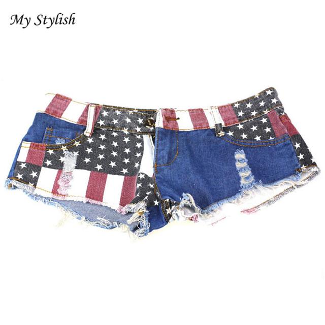 2017 New 1PC Sexy Women Shorts American US Flag Printed Mini Jeans Hot Pants Denim Low Waist Tassel Hole Lady Short Pants Dec 15