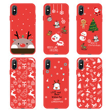 Árvore de natal Papai Noel Bonito Patterned Red Dog Soft Case Telefone TPU Para o iphone 6 6 s 7 8 Plus XS X XS MAX XR Elk Animal Pintado(China)