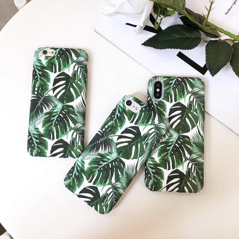 For Iphone X XR XS XS MAX case Coque Summer plants Leaves leaf Hard PC Back Cover Shell on for iphone X 6s 6Plus 7 8 7Plus case