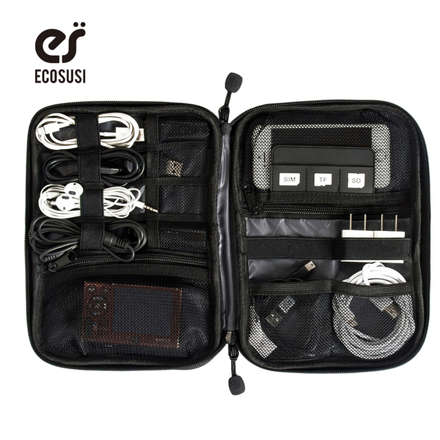 Ecosusi Electronic Accessories Bag Nylon Mens Travel For Date Line Sd Card Usb Cable Digital