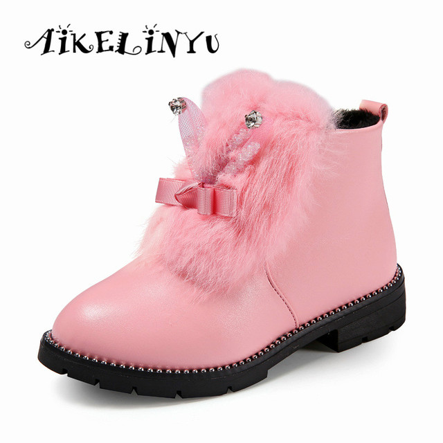 02ab5d9ed0cf4 2017 Winter Children Shoes Teenage Girls Boots Children Leather Boots Kids  Rabbit Fashion Snow Boots Cute Girls Princess Boots