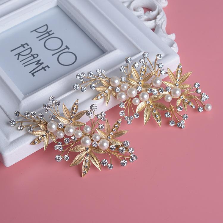 moda peinetas joyera de perlas de cristal mujeres accesorios de boda horquillas de novia oro adorno