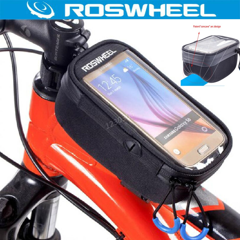 ROSWHEEL 121048 Touchscreen Bicycle 5.2'' 5.7''Bike Front Frame Tube Concave Bag Cycling Accessories Luggage Rack Bolso Manillar