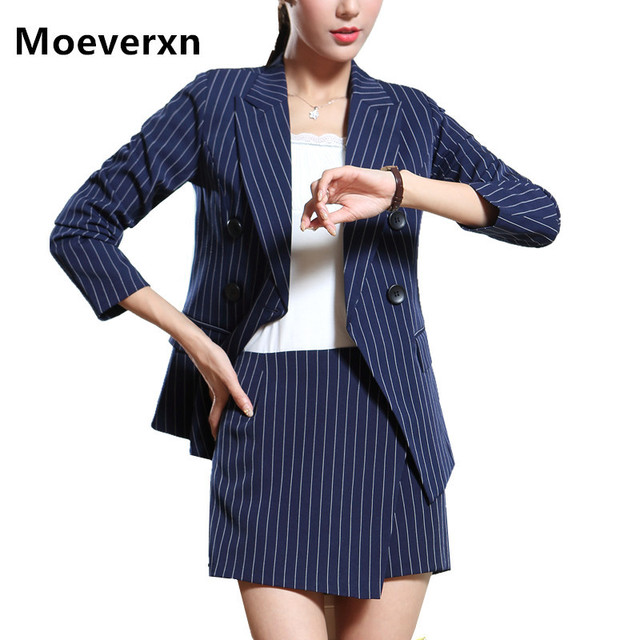 Women Work Office Blazers And Jackets Spring Autumn Temperament Long Sleeve Pink Blue Striped Blazer Feminino OL Style