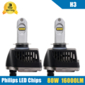 2x 80W 16000LM H3 LED Headlight Conversion Kit High/Low Beam Bulb 5700-6000K Car Truck HID Replacement Super Bright Headlamp