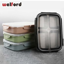 Leakproof Lunch Box Food Containers With Compartments Stainless Steel Lunchbox Office School Kids Bento Box Picnic Office