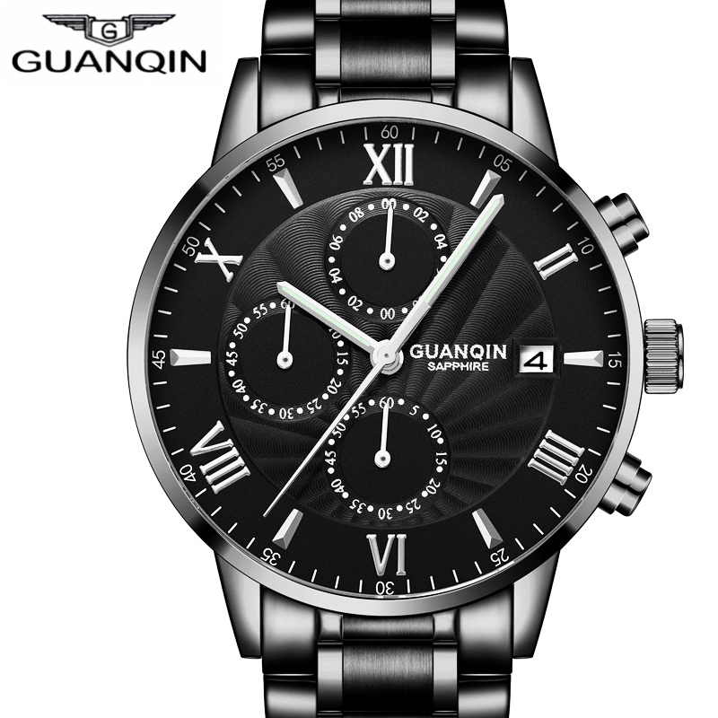 GUANQIN Mens Watches Top Brand Luxury Chronograph Clock Men Business Stainless Steel Waterproof Quartz Watch relogio masculino mens watches top brand luxury wishdoit chronograph luminous quartz watch men business men stainless steel waterproof wristwatch