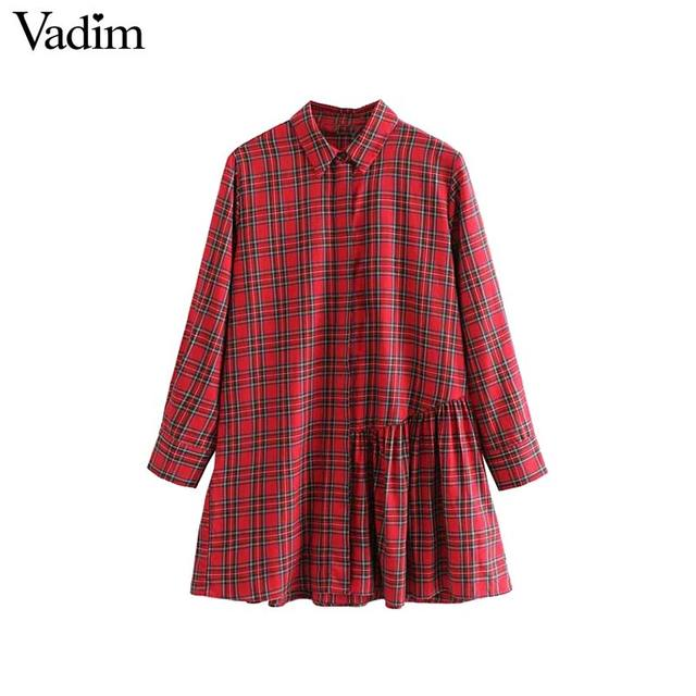 Vadim women elegant plaid long blouses irregular pleated design long sleeve shirts female casual streetwear tops blusas LA204