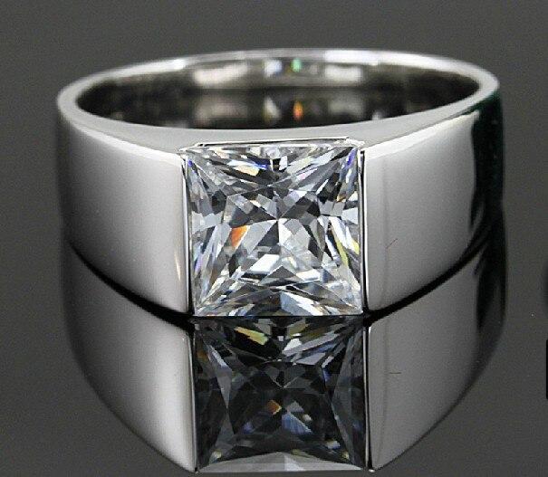 Fantastic 2Ct Halo Princess Cut Silver Diamond Rings for Men 925 Sterling Silver Wedding Man Rings