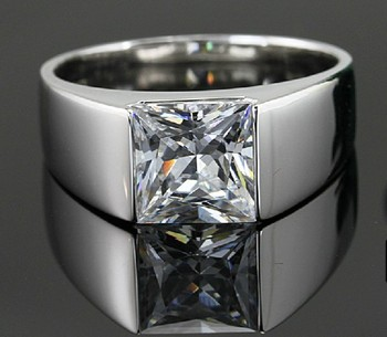 Fantastic 2Ct Halo Princess Cut Silver Diamond Rings for Men 925 Sterling Silver Wedding Man Rings