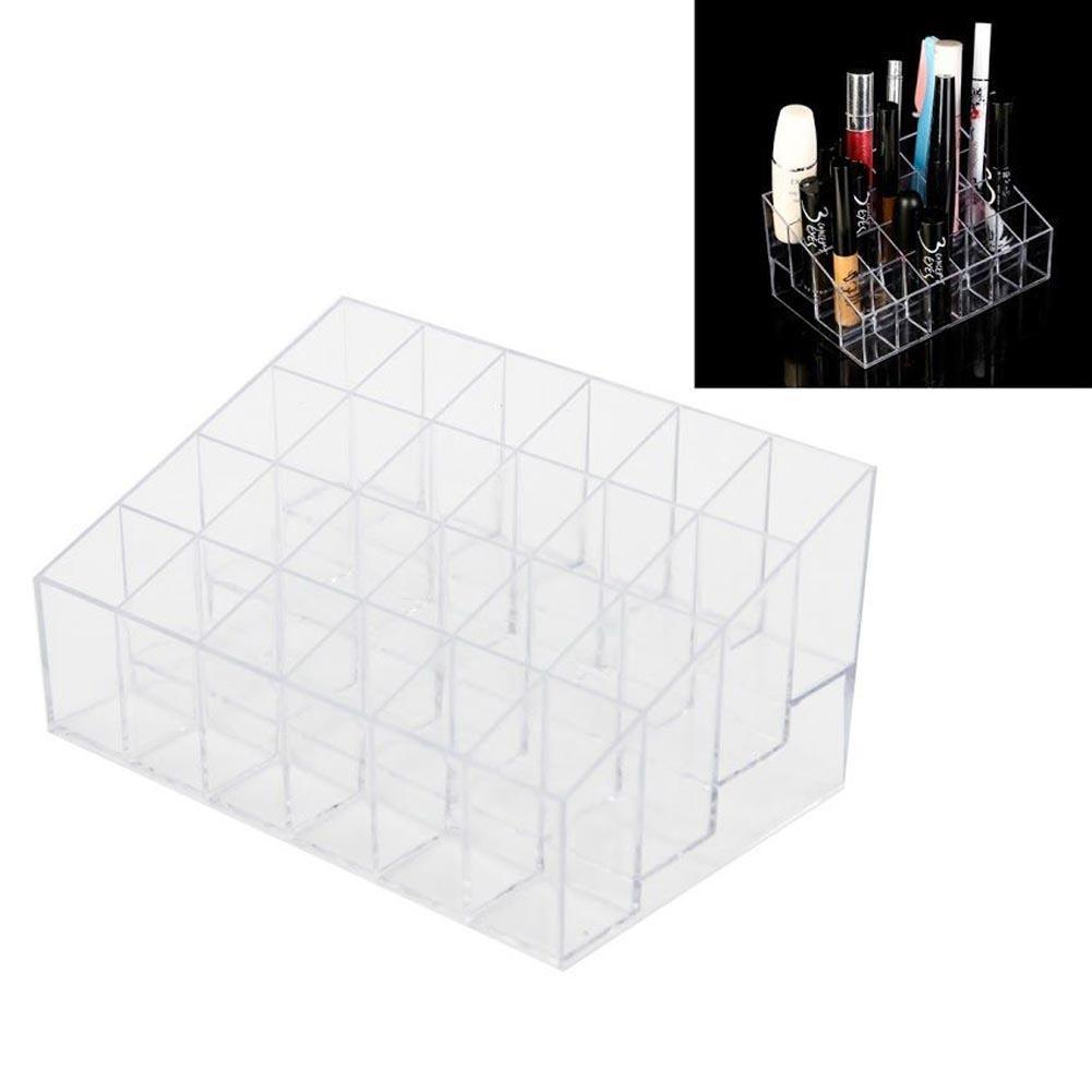 24 Grid Clear Acrylic Make Up Storage Holder Makeup Organizer Storage Box Cosmetic Box Lipstick Jewelry Box Case Holder Display