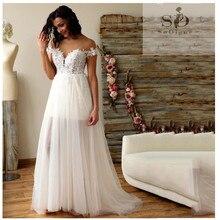 2019 Lace Wedding Dress Boho A Line Short Skirt Bride Gowns Elegant Train White  Tulle Custom Made