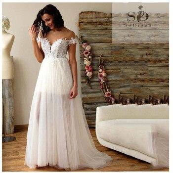 2019 Lace Wedding Dress Boho A Line Short Skirt Bride Wedding Gowns Elegant Train White  Tulle Wedding Gowns Custom Made