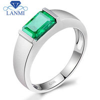 Simple Classic Ring For Men Wedding Ring With Emerald Cut 6x8mm Natural Emerald 18K White Gold Fine Jewelry Office Style Rings