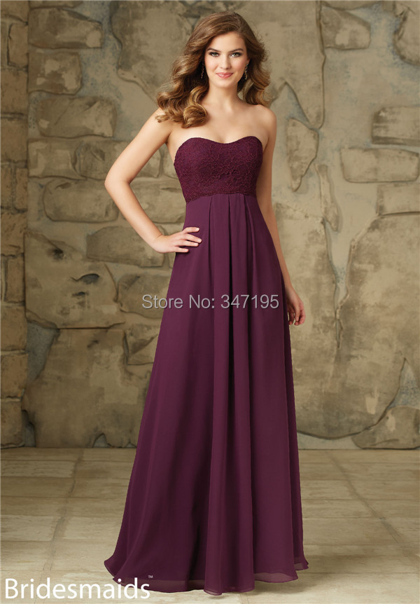 BD4446 Wine Red Color Lace Bodice Long Bridesmaid Dress