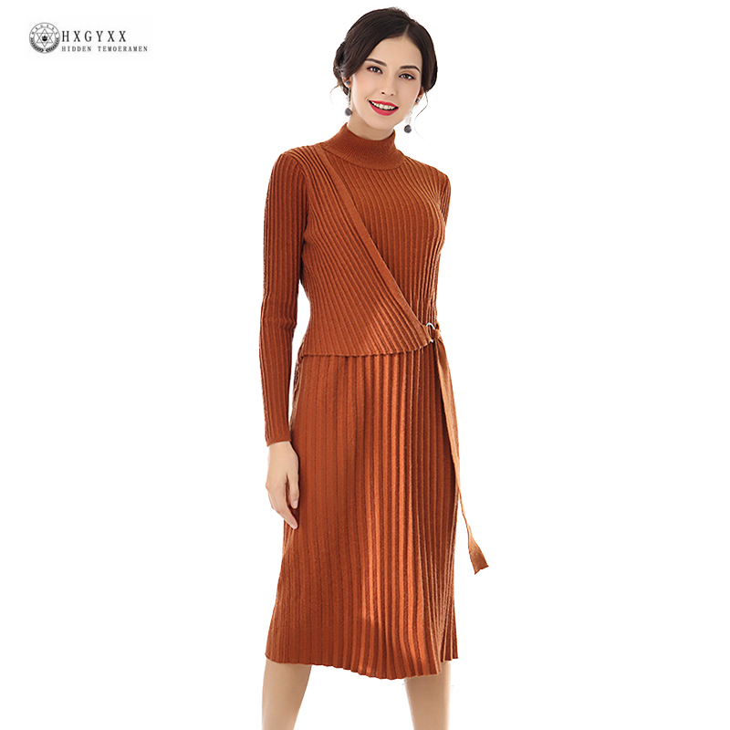2018 Spring New Elastic Knitwear Turtleneck Pure Color Long Sleeves Knitted Dress Women Slim Casual Lady Autumn Dresses OK1397 2017 spring autumn women trousers new plus size stretch casual jeans elastic high waist fashion slim black pencil denim pants