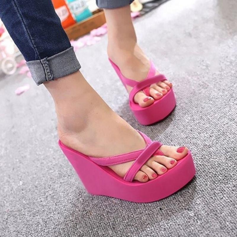 Bohemia Women Casual Sandals Flip Flops Wedges Platform Ultra High Heels Women Beach Sandals Flip Flops Slippers(China)