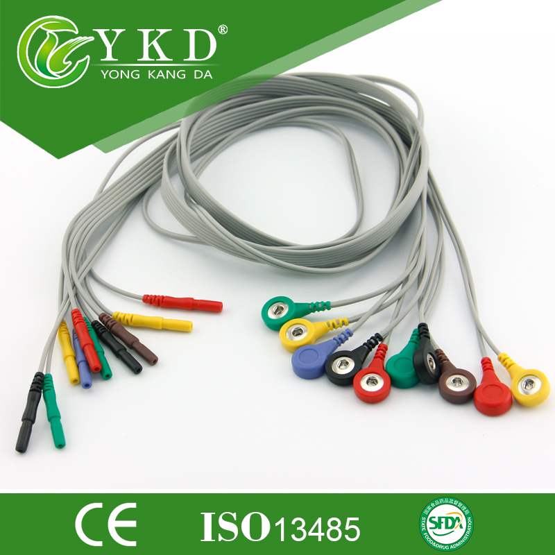 Din 1.5mm Style Holter 10lead cable and leadwires with IEC,Snap,10pcs/lotDin 1.5mm Style Holter 10lead cable and leadwires with IEC,Snap,10pcs/lot