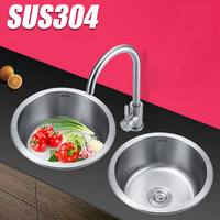 to mini small family 304 stainless steel kitchen sink single groove round basins thickening basin bowl pool