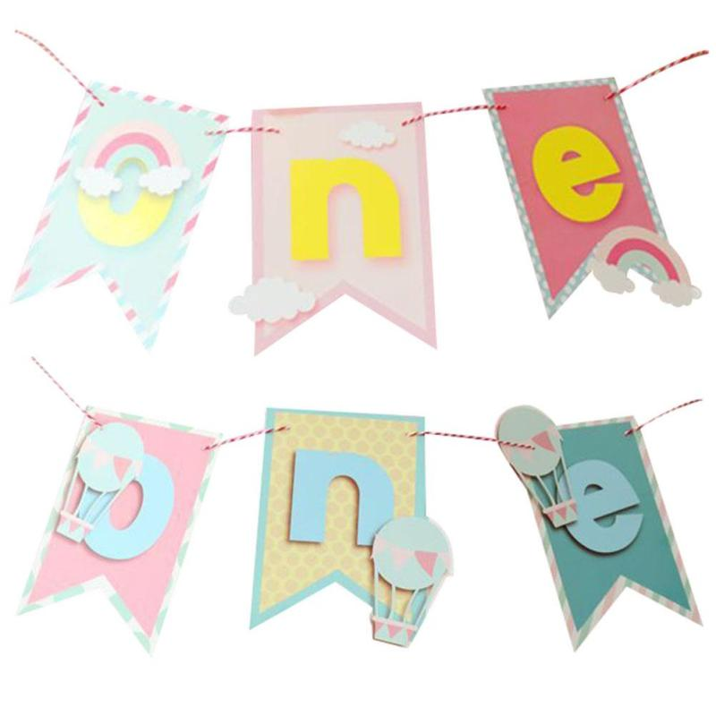 Baby First Birthday Party Baby Chair Flag Banner Pink Blue One Year Old Birthday Hanging Bunting Celebrate Party Decoration A30
