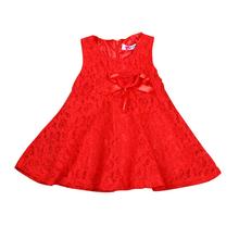 Nowy 2017 kwiat dziewczyna party sukienka Baby urodziny Tutu sukienki dla dziewczyn koronki dziecko kamizelka chrzest sukienki dzieci suknia ślubna tanie tanio Baby Girls X00C-ZS-7207 Ładna Bez rękawów Cotton Polyester Lace Trapezowa Stałe O-Neck rorychen Pasuje do rozmiaru Weź swój normalny rozmiar