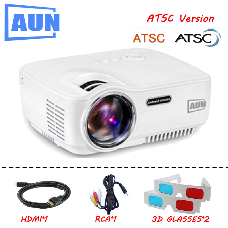 AUN AM01 LED Projector 1400LM 800 x 480 Pixels With AV font b Audio b font