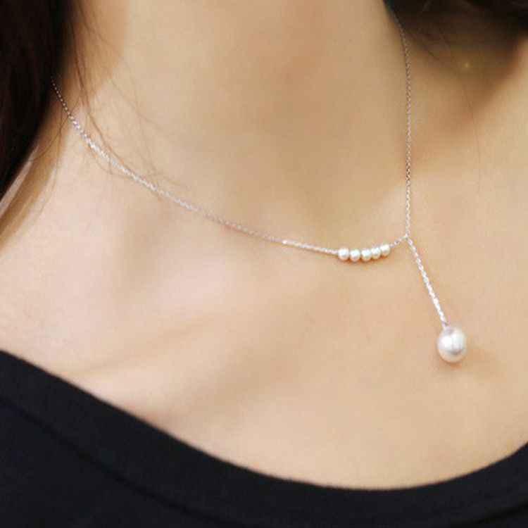 Gorąca sprzedaż słodkie proste biały symulowane Pearl okrągły wisiorek komunikat srebrny złoty choker naszyjnik dla kobiet biżuteria dziewczęca