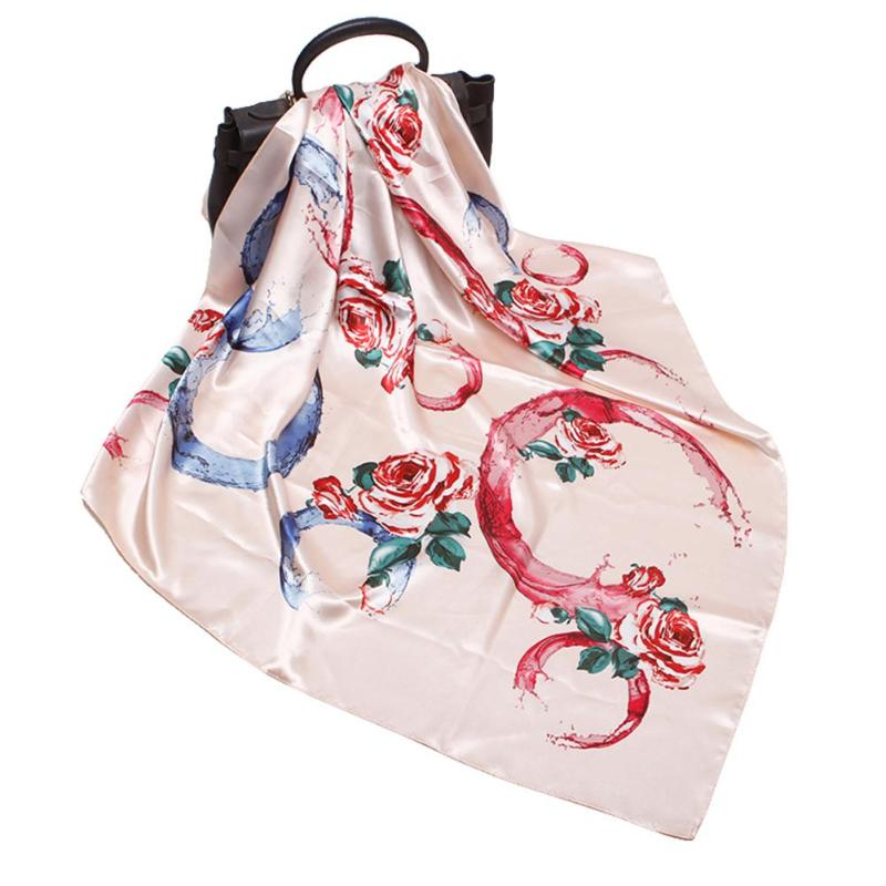 Fashion Women Rose Flower Print Square Scarf Imitate Silk Neck Wrap Band Casual Decor Vintage Fashion Bag Ribbon Gift Female