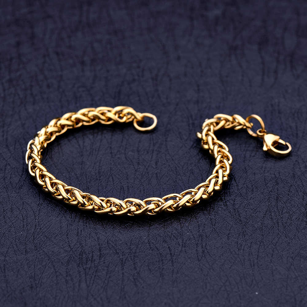 New Arrival Stainless Steel Gold Color 4MM 5MM 6MM Keel Chain Bracelet & Bangles Fashion Men's Jewelry drop shipping