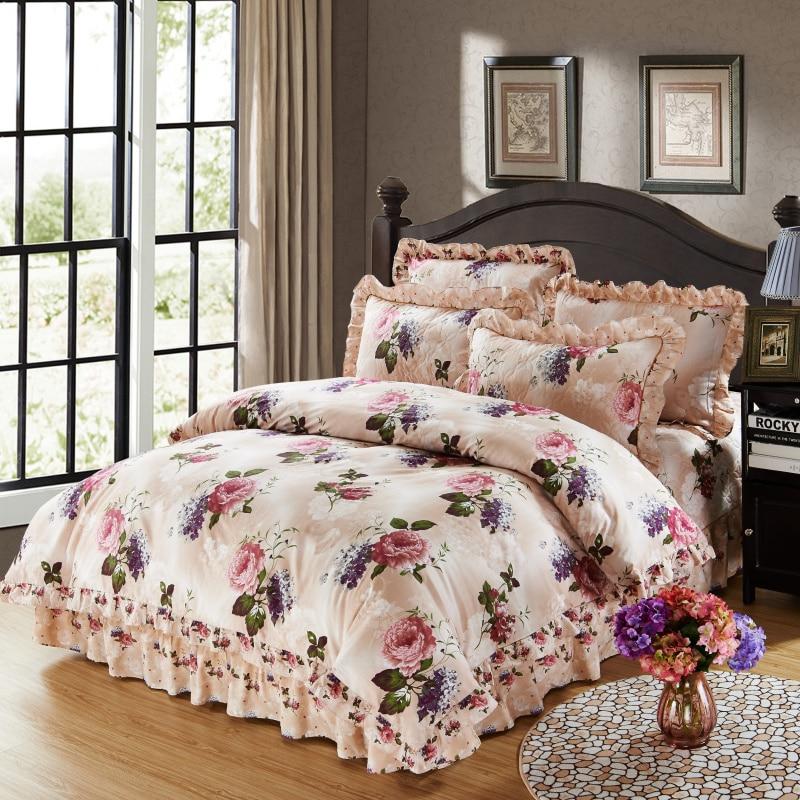 100% 코튼 부드러운 침구 퀸 킹 사이즈 침구 세트 퀼트 두꺼운 침대 확산 이불 커버 침대 시트 세트 베개 케이스 4/6 pcs-에서침구 세트부터 홈 & 가든 의  그룹 1