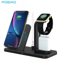 3 in 1 10W Qi Wireless Charger For iWatch 5 4 3 2 1 AirPods Qi Fast Charging for Apple Watch iPhone 11 XS XR X 8 Samsung S10 S9|Mobile Phone Chargers| |  -