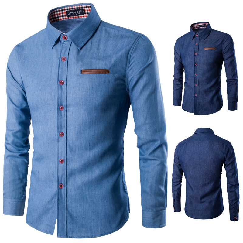 Krachtig 2019 Merk Casual Business Mannen Dress Shirts Pocket Pu Leer Stiksels Lange Mouwen Katoen Stijlvolle Mannetjes Sociale Shirts Qwz Modieuze En Aantrekkelijke Pakketten