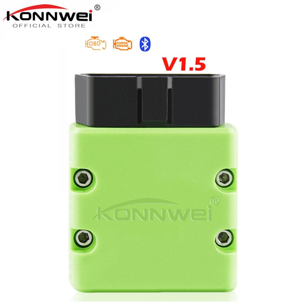 KONNWEI KW902 Bluetooth ELM327 V1.5 Chip PIC18f25k80 OBD2 escáner de MINI ELM 327 OBDII KW902 lector de código para Android Teléfono Windows