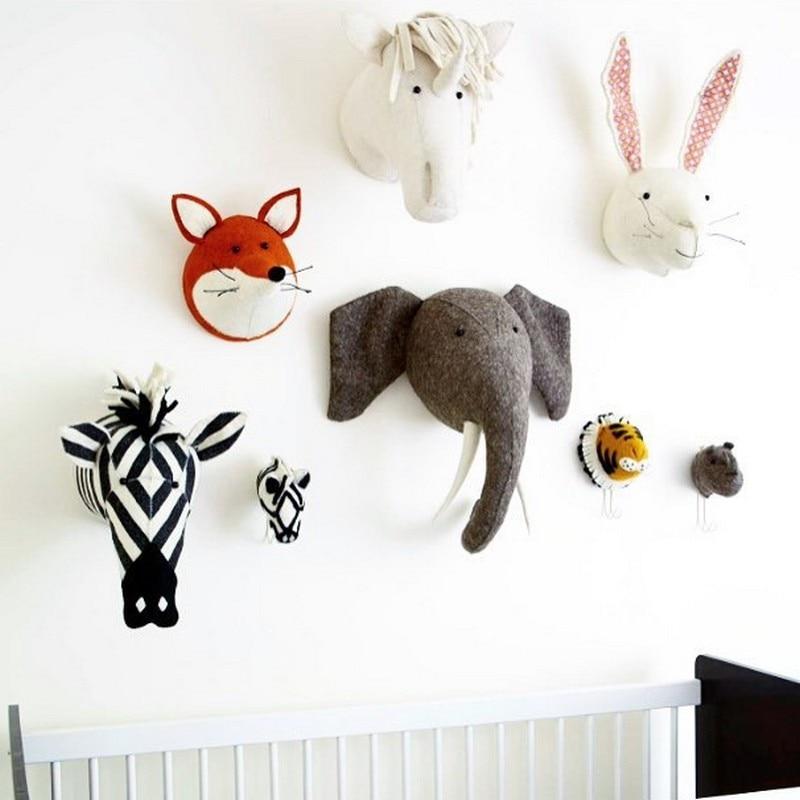 3D DIY Baby Handmade Stuffed Elephant Animals Head Toys Kids Room Wall Hangings Artwork Children Room Wall Decoration Baby Gifts 3d dinosaur removable wall stickers animals room window decoration