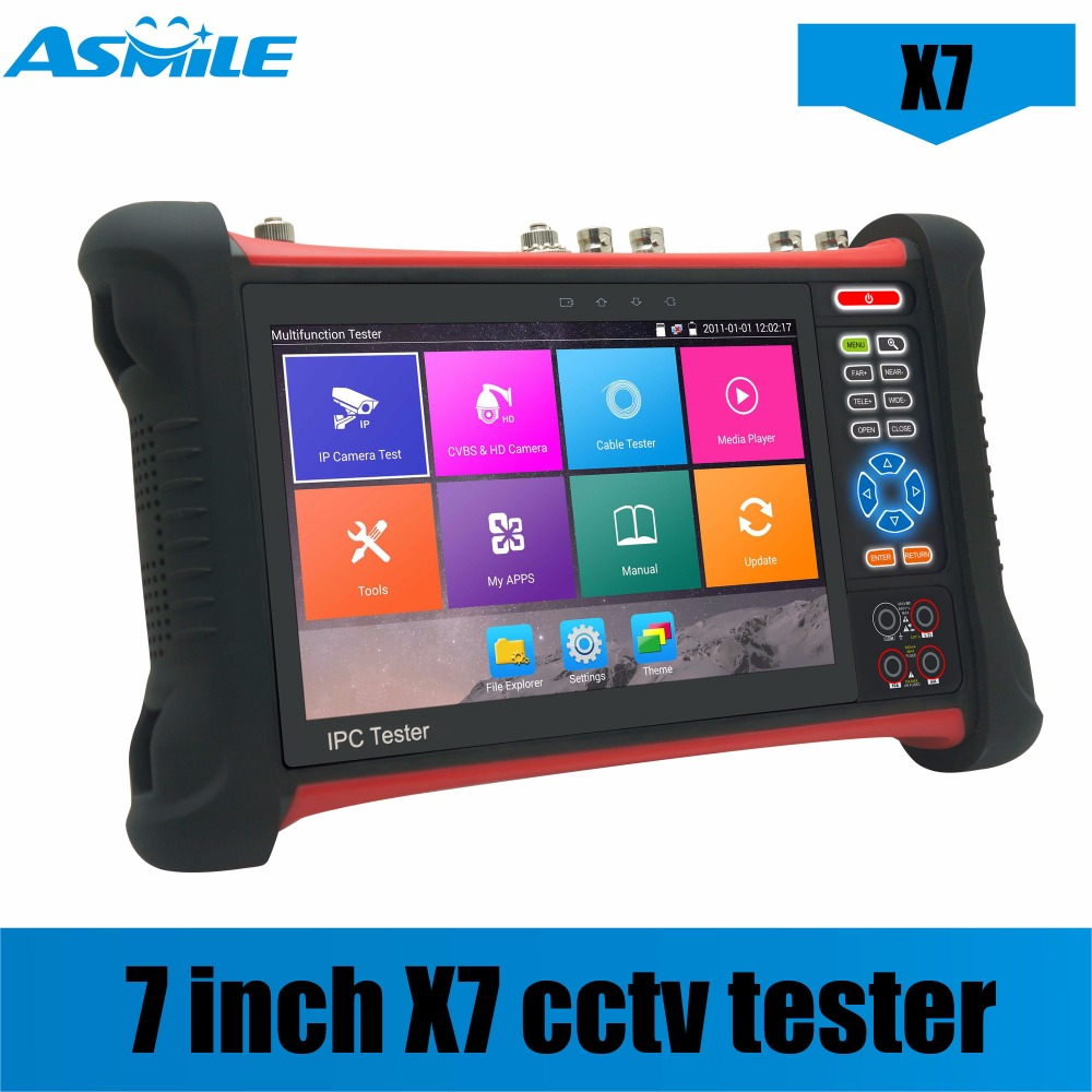 X7 H.265 4K 8MP Camera Tester 6 In 1 TVI CVI AHD SDI CVBS IP Camera Tester CCTV Tester Monitor With TDR,Cable Tracer