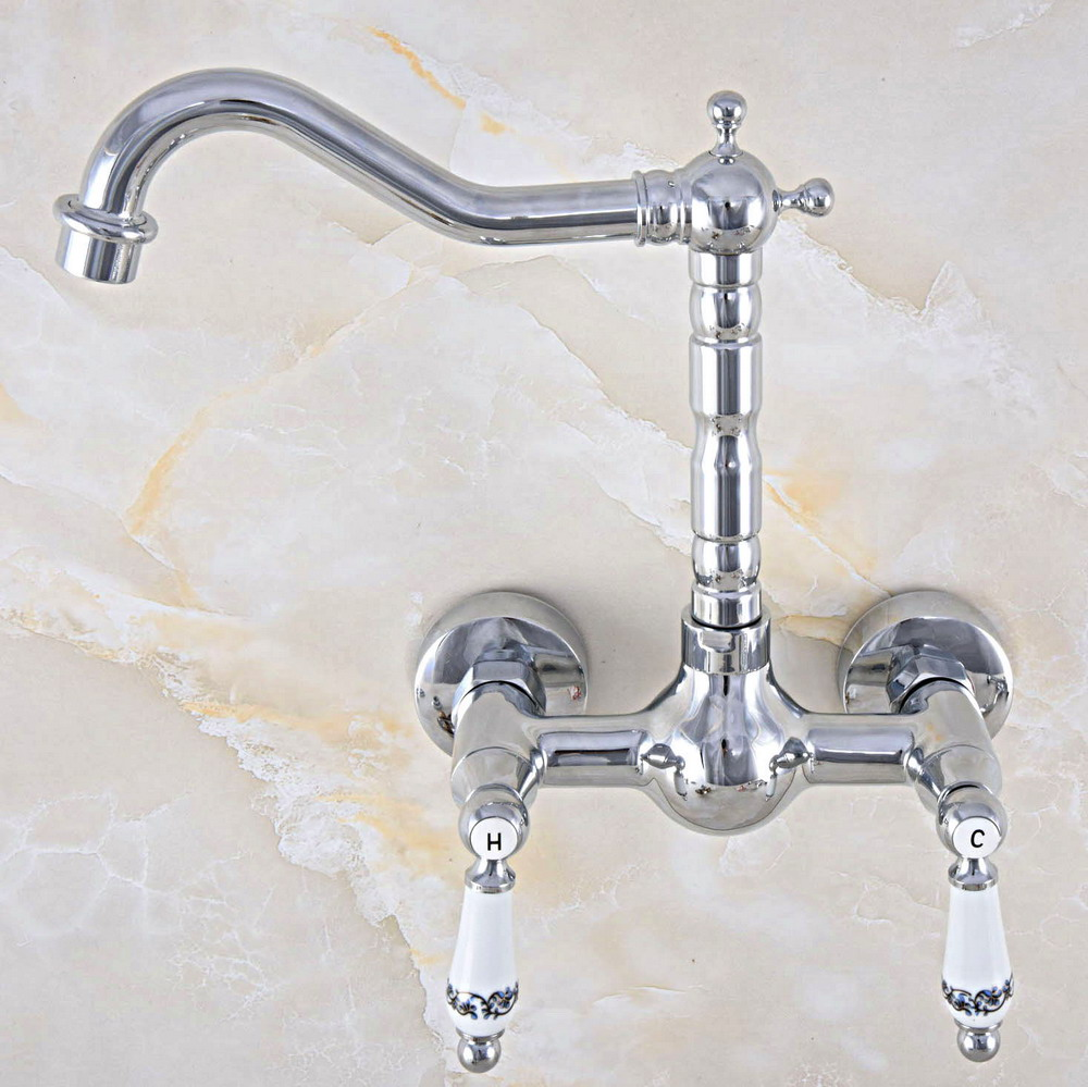 Polished Chrome Brass Wall Mount Kitchen Sink Faucet Swivel Spout Mixer Tap Dual Ceramics Handles Levers Anf566