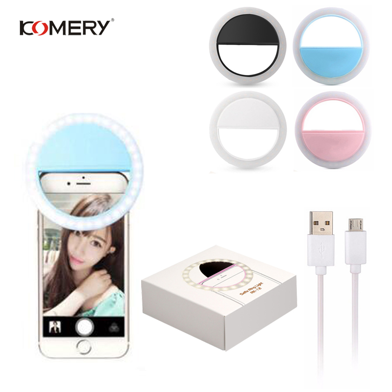 KOMERY Rechargeable Self-timer LED Ring Flash Light Ring Clamp USB Charging For Phones For iPhone Samsung SonySmart Phones