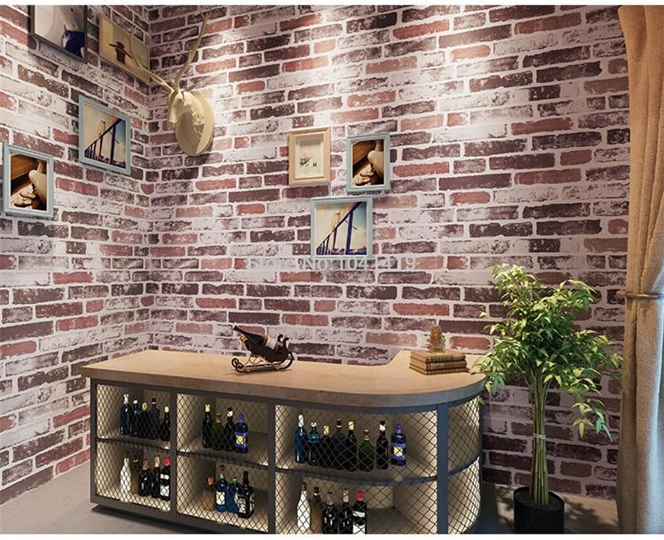 3D Imitation Brick Wallpaper Modern Retro Restaurant Cafe Bar PVC Waterproof Vintage Wall Papers Roll For Walls 3 D Home Decor