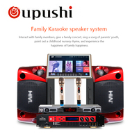 Oupushi ok 3 дома KTV мини караоке смеситель Системы цифровой звук аудио микшер пение машина 2 Беспроводной микрофон, динамик