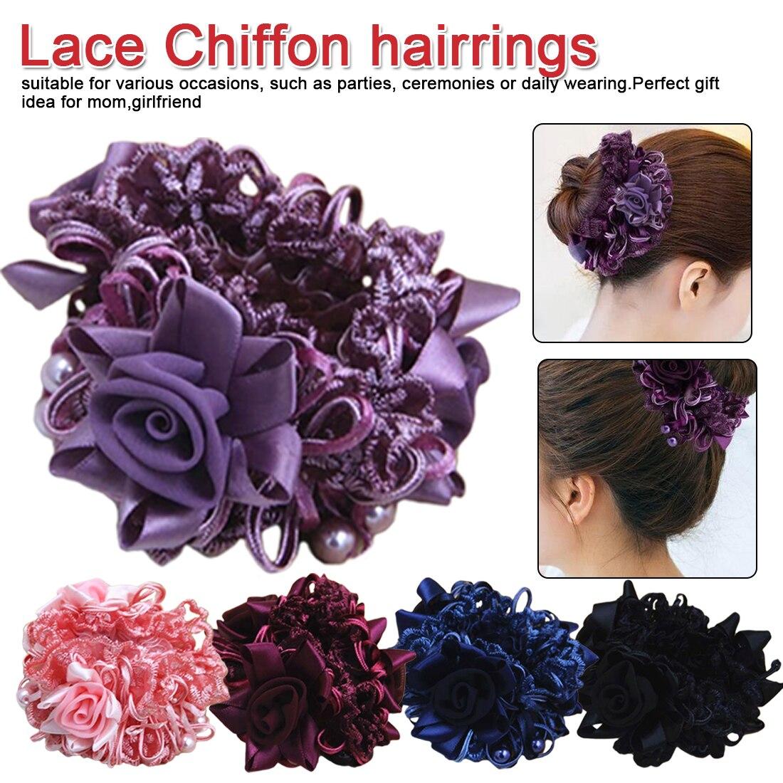 Big Rose Flower Elastics Hair Rubber Bands Elegance Girls Women Cute Fabric Hot Wedding Accessories