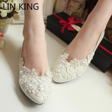 LIN KING Flower Pearl Wedding Shoes Red and White Flat Handmade Wedding Shoes Bride Bridesmaid Shoes Formal Dress Wedding Shoes