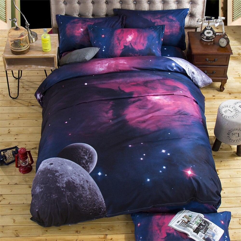 002  3d Galaxy Bedding Set Quilt Cowl Set Universe Outer House Themed pillowcase cover cowl flat Sheet 2PCS/3pcs/4pcs queen Twin HTB1zMfYSFXXXXbFaXXXq6xXFXXXs